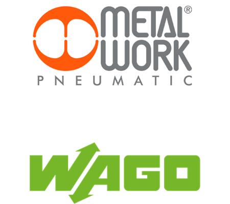 Logotipo Metal Work e WAGO, nossos fornecedores.